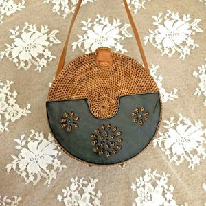 Ate Rattan Leather Bag Bali Handmade Wicker Tan